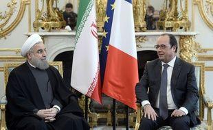 Hassan Rohani et François Hollande à l'Elysée, le 28 janvier 2016.
