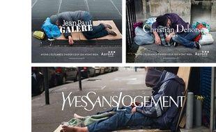 Montage des trois affiches de marques de luxe détournées par l'association Aurore.