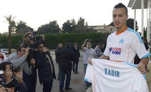 Le joueur de l'OM Foued Kadir, lors de sa présentation à Marseille le 3 janvier 2013.