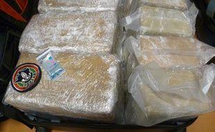 La cocaïne saisie par les douanes de l'aéroport de Roissy entre le 9 et 15 septembre 2013.
