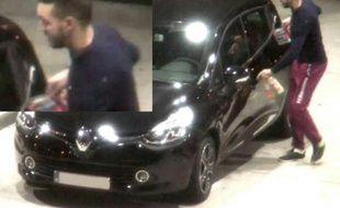 Montage de deux captures d'écran d'une vidéo de surveillance montrant Mohamed Abrinile 13 novembre 2015 dans une station service à Ressons au nord de Paris