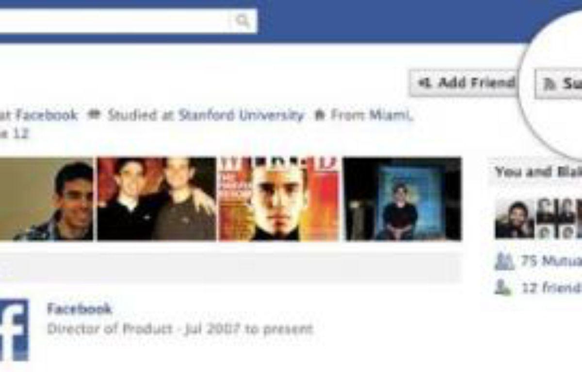 Le nouveau bouton «subscribe», dévoilé par Facebook le 14 septembre 2011. – DR