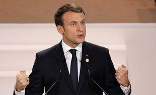 Emmanuel Macron durant son discours au One Planet Summit, le 12 décembre 2017.