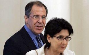 Salomé Zourabichvili, avec Sergey Lavrov, le ministre des Affaires étrangères russe à Moscou, le 30 mai 2005.