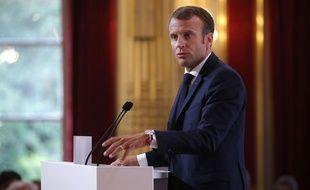 Emmanuel Macron à la conférence des ambassadeurs, à l'Elysée.