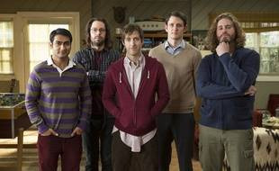 Le cast de la série de HBO «Silicon Valley», avec Thomas Middleditch, au centre.