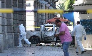 Un attentat a visé la police, en Tunisie, sur l'avenue Habib Bourguiba, le 27 juin 2019.