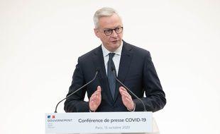 Le ministre de l'economie Bruno Le Maire, lors d'une conférence de presse le 15 octobre 2020 à Paris.