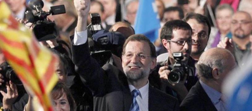 Le chef du Parti Populaire espagnol, Mariano Rajoy, lors d'un meeting de campagne à Barcelone, le 16 novembre 2011.