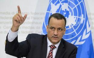 Le médiateur de l'ONU pour le Yémen, Ismaïl Ould Cheikh Ahmed, lors d'une conférence de presse à Berne, le 20 décembre 2015