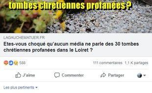 La publication Facebook  appelant à partager « massivement » cette fausse information sur un prétendu silence médiatique.