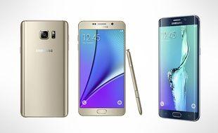 Le Galaxy Note 5 (à gauche) et le Galaxy S6 edge+, à droite, dévoilés le 13 août 2015 par Samsung.