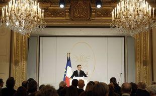 Emmanuel Macron lors de ses voeux à la presse à l'Elysée, le 15 janvier 2020.