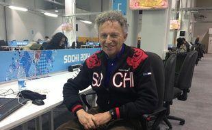 Le commentateur de France Télévisions Nelson Monfort, lors des Jeux olympiques de Sotchi, le 7 février 2014