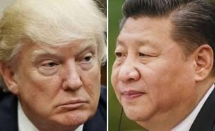 Photomontage de Donald Trump et Xi Jinping.