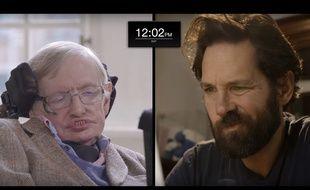Stephen Hawking face à l'acteur Paul Rudd.