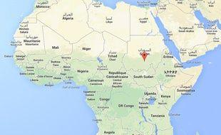 Capture d'écran Google map du Soudan.