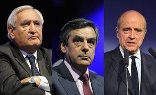 Montage: Jean-Pierre Raffarin, François Fillon et Alain Juppé.