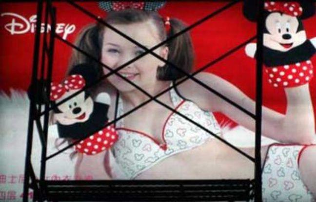 Publicité pour des sous-vêtements Disney en Chine.