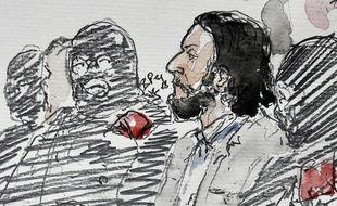 Illustration du procès de Salah Abdeslam qui s'ouvre à Bruxelles le 5 février 2018.