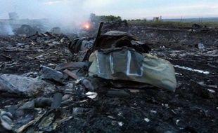 Des débris de l'avion de la Malaysia Airlines écrasé en Ukraine, le 17 juillet 2014 près de Chakhtarsk, en Ukraine