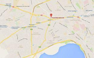 Google map de l'Assemblée nationale de Tunis, en Tunisie.