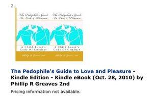 Capture d'écran du site Amazon.com proposant un e-book sur la pédophilie.