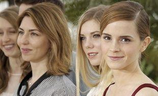 Cannes, le 16 mai 2013 De droite à gauche, les actrices actors Emma Watson, Claire Julien, la réalisatrice Sofia Coppola, et l'actrice Taissa Fariga