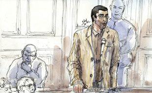Dessin de presse du procès d'Adlène Hicheur, le 29 mars 2012.