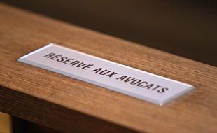 Lille, le 2 fevrier 2015. Ouverture du proces pour proxenetisme aggrave, affaire dite du carlton de Lille devant le tribunal correctionnel. Ici la salle d'audience ou se derouleront les debats avec tous les dossiers de l'instruction.