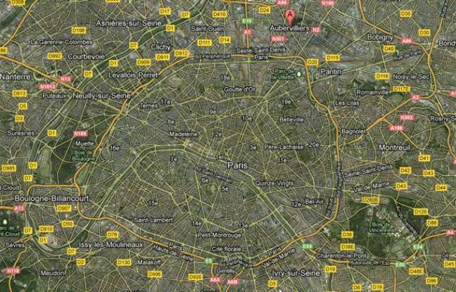 Googlemap localisant Aubervilliers, en Seine-Saint-Denis.