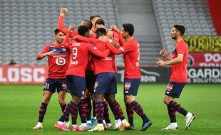 La joie des Lillois après l'ouverture du score face à Nice