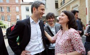 Christophe Najdovski et Cécile Duflot le 8 juin 2013, lors de la désignation de l'élu parisien par les militants écologistes, pour la municipale parisienne.