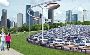 Image de synthèse du projet de tramway aérien Skytran