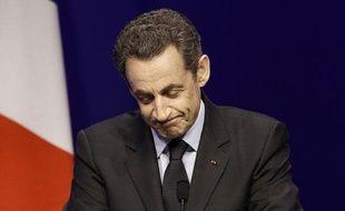 Nicolas Sarkozy le 22 avril 2012, à la Mutualité.