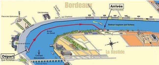 Le parcours de la traversée de la Garonne en 2018.