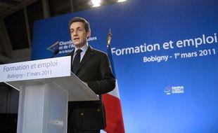 Nicolas Sarkozy lors de son discours sur la Formation et l'emploi à Bobigny (Seine Saint Denis) le 1er mars 2011