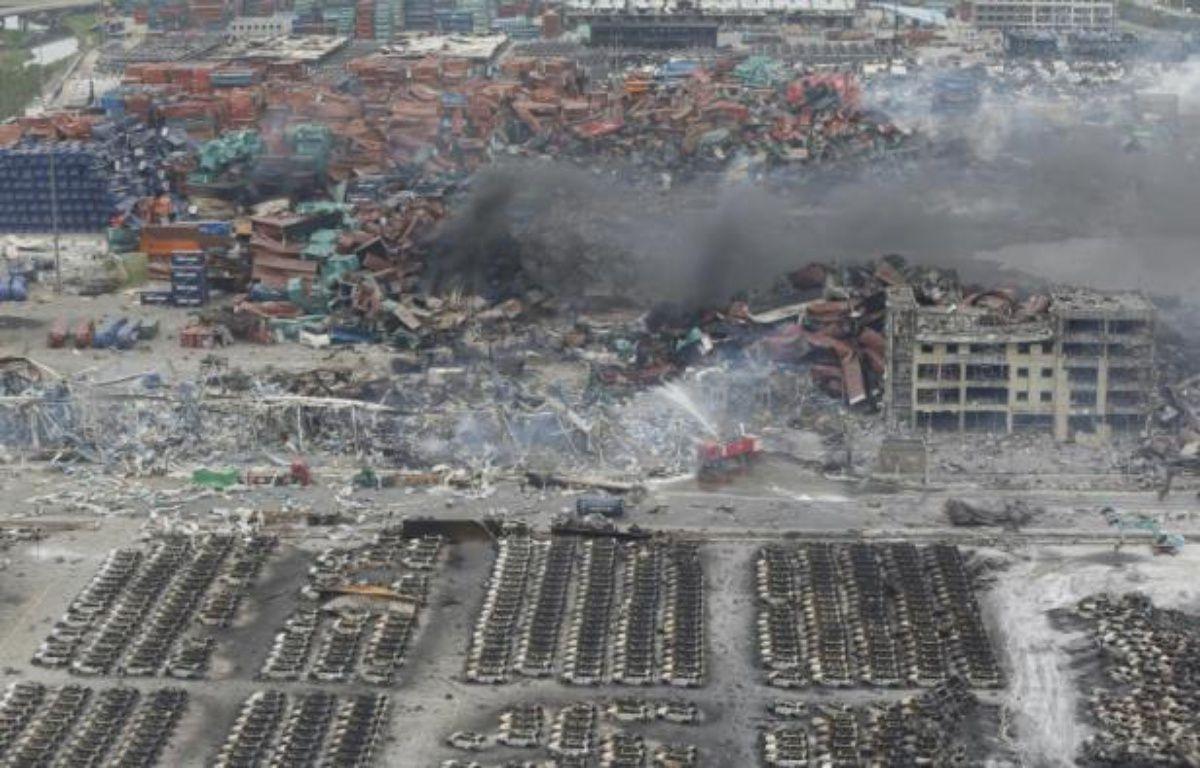 Site de l'explosion dans la cité portuaire de Tianjin (est de la Chine) le 13 août 2015 – STR AFP