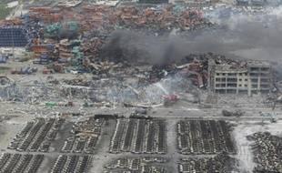 Site de l'explosion dans la cité portuaire de Tianjin (est de la Chine) le 13 août 2015