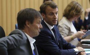 L'ancien ministre de la Transition écologique Nicolas Hulot avec Emmanuel Macron.