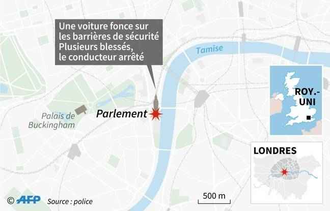 Inforgraphie sur l'accident survenu mardi 14 août à Londres, devant le Parlement britannique.