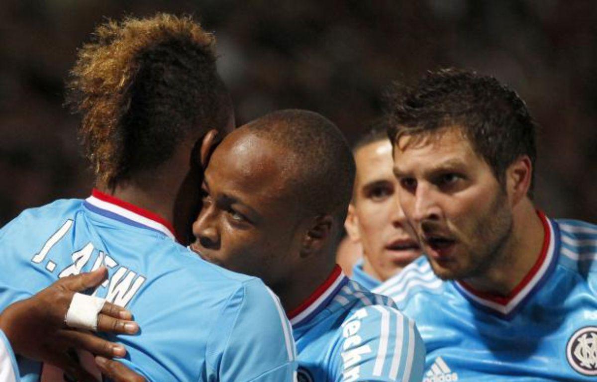 les Marseillais félicitent Jordan Ayew après son but à Nancy, le 16 septembre 2012. – V.Kessler / REUTERS
