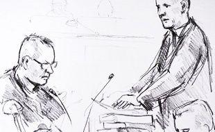 Un dessin de Peter Madsen au premier jour de son procès à Copenhague