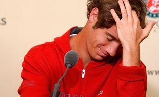 Le tennisman français Richard Gasquet, lors d'une conférence de presse à Roland-Garros en mai 2008.