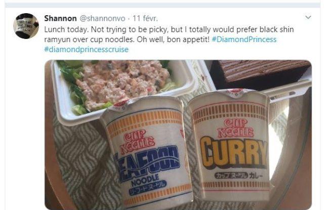 Les repas de Shannon, passagère du Diamond Princess en quarantaine.