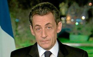 Nicolas Sarkozy lors de ses vœux aux Français samedi 31 décembre 2011.