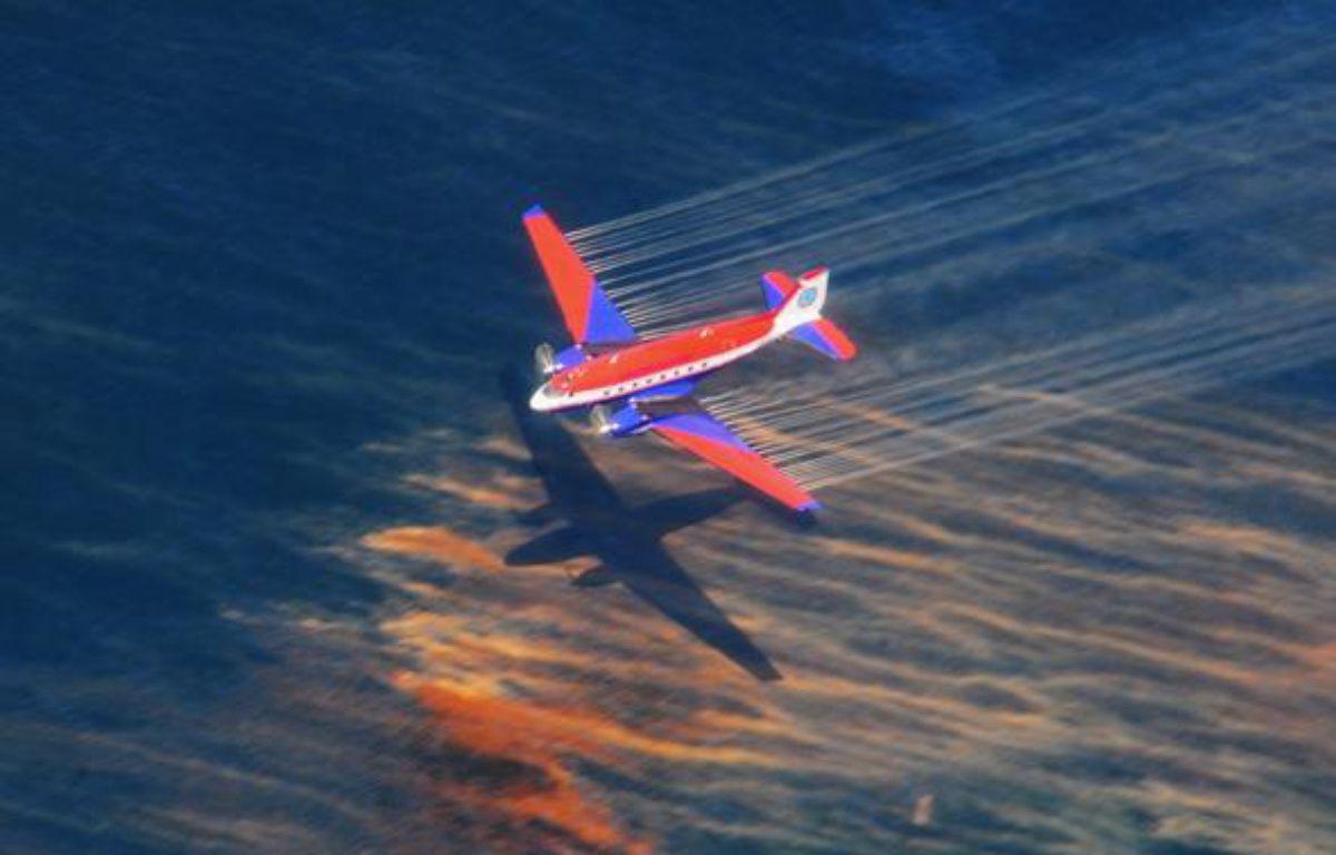 Un avion qui largue du dispersant dans le Golfe du Mexique, pour lutter contre la marée noire, le 5 mai 2010. – REUTERS/Ho New