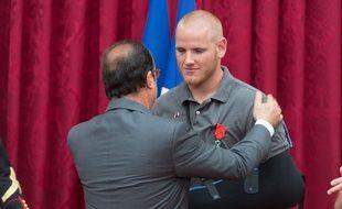 Remise de Légion d'honneur aux héros du Thalys le 24 août 2015.