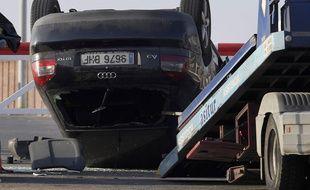 Le véhicule utilisé comme voiture-bélier contre des passants à Cambrils.  AFP PHOTO / LLUIS GENE