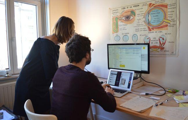 Deux des trois fondateurs de la start-up Knot, anciennement Samocat, à l'oeuvre dans leurs locaux strasbourgeois... où vit l'un d'eux !
